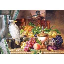 Натюрморт с плодове и Какаду Йозеф Шустер (Josef Schuster)