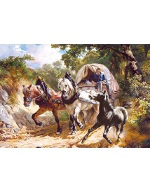 "Пъзел - Copy of ""Covered Wagon in a Narrow Path"", R.Koller"