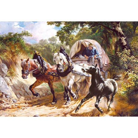 "Пъзел - Copy of ""Covered Wagon in a Narrow Path"", R.Koller"