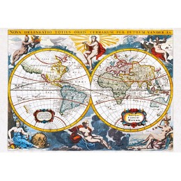 "Пъзел - ""World map"", early 18th century, Pieter Vander"