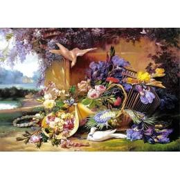 Пъзел - Elegant Still Life with Flowers, Eugene Bidau