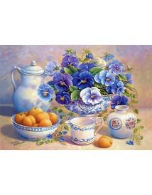 Пъзел - Apricot and Blue Pansies