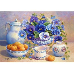 Пъзел - Apricot and Blue Pansies