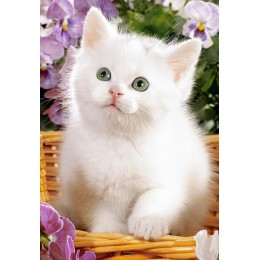 Пъзел - White Kitten in Basket