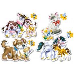 Четири пъзела: Животни с малки