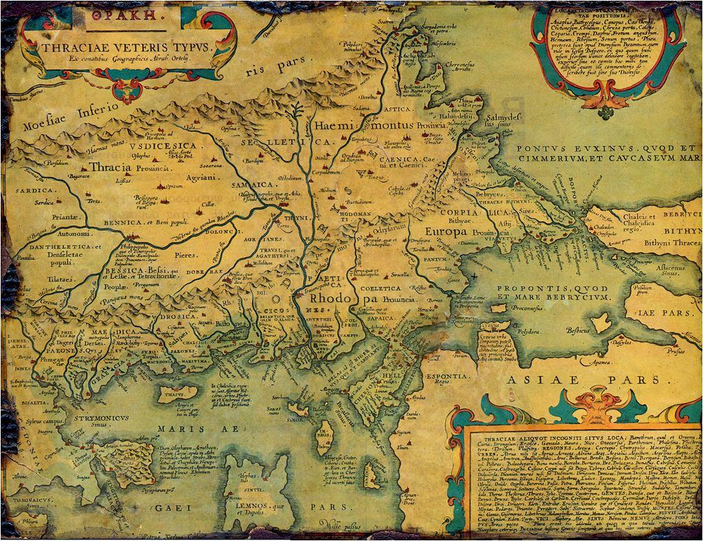 Стара историческа карта на Древна Тракия, направена от Авраам Ортелий през 1585 г., която посочва както имената Тракия, така и Европа. Картата показ- ва също малка част от Древна Азия, Мизия и Древна Гърция, както и някои от Егейските острови.